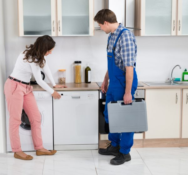 Young Woman Showing Dishwasher To Worker With Toolbox In Kitchen